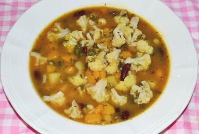 Supa de conopida, dovleac si fasole